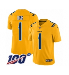 Youth Los Angeles Chargers #1 Ty Long Limited Gold Inverted Legend 100th Season Football Jersey