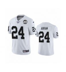 Women's Oakland Raiders #24 Johnathan Abram White 60th Anniversary Vapor Untouchable Limited Player 100th Season Football Jersey
