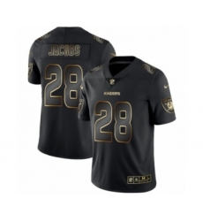 Men's Oakland Raiders #28 Josh Jacobs Black Golden Edition 2019 Vapor Untouchable Limited Jersey