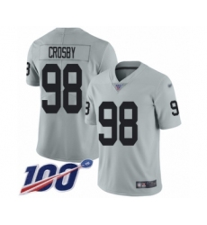 Men's Oakland Raiders #98 Maxx Crosby Limited Silver Inverted Legend 100th Season Football Jersey