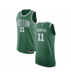 Men's Boston Celtics #11 Enes Kanter Authentic Green(White No.) Road Basketball Jersey - Icon Edition