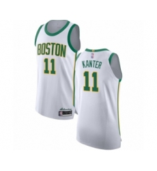 Men's Boston Celtics #11 Enes Kanter Authentic White Basketball Jersey - City Edition