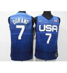 Men's Brooklyn Nets #7 Kevin Durant Blue USA Basketball Tokyo Olympics 2021 Jersey
