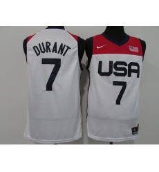 Men's Brooklyn Nets #7 Kevin Durant USA Basketball Tokyo Olympics 2021 White Jersey