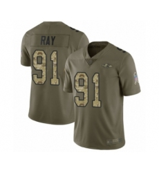 Men's Baltimore Ravens #91 Shane Ray Limited Olive Camo Salute to Service Football Jersey