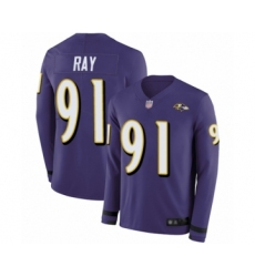 Men's Baltimore Ravens #91 Shane Ray Limited Purple Therma Long Sleeve Football Jersey