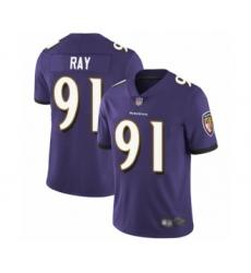 Men's Baltimore Ravens #91 Shane Ray Purple Team Color Vapor Untouchable Limited Player Football Jersey