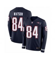 Men's New England Patriots #84 Benjamin Watson Limited Navy Blue Therma Long Sleeve Football Jersey