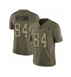 Men's New England Patriots #84 Benjamin Watson Limited Olive Camo 2017 Salute to Service Football Jersey