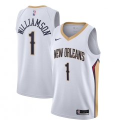 Men's New Orleans Pelicans #1 Zion Williamson Nike White 2020-21 Swingman Jersey