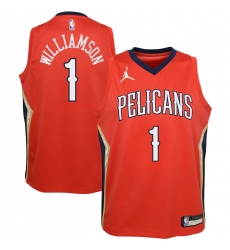 Youth New Orleans Pelicans #1 Zion Williamson Jordan Brand Red 2020-21 Swingman Player Jersey
