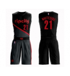 Men's Portland Trail Blazers #21 Hassan Whiteside Swingman Black Basketball Suit Jersey - City Edition