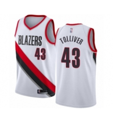Men's Portland Trail Blazers #43 Anthony Tolliver Authentic White Basketball Jersey - Association Edition