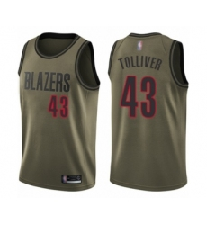 Men's Portland Trail Blazers #43 Anthony Tolliver Swingman Green Salute to Service Basketball Jersey