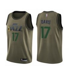 Men's Utah Jazz #17 Ed Davis Swingman Green Salute to Service Basketball Jersey
