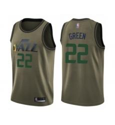 Men's Utah Jazz #22 Jeff Green Swingman Green Salute to Service Basketball Jersey