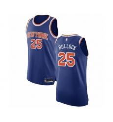 Men's New York Knicks #25 Reggie Bullock Authentic Royal Blue Basketball Jersey - Icon Edition