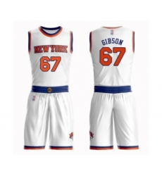 Men's New York Knicks #67 Taj Gibson Swingman White Basketball Suit Jersey - Association Edition