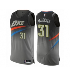 Men's Oklahoma City Thunder #31 Mike Muscala Authentic Gray Basketball Jersey - City Edition
