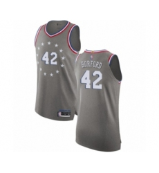 Men's Philadelphia 76ers #42 Al Horford Authentic Gray Basketball Jersey - City Edition