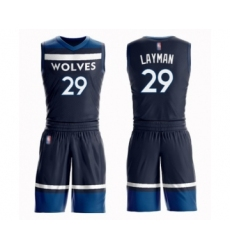 Men's Minnesota Timberwolves #29 Jake Layman Swingman Navy Blue Basketball Suit Jersey - Icon Edition