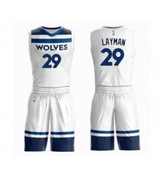 Men's Minnesota Timberwolves #29 Jake Layman Swingman White Basketball Suit Jersey - Association Edition