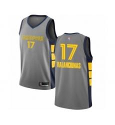 Men's Memphis Grizzlies #17 Jonas Valanciunas Authentic Gray Basketball Jersey - City Edition