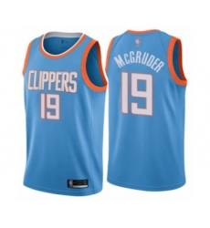 Men's Los Angeles Clippers #19 Rodney McGruder Authentic Blue Basketball Jersey - City Edition