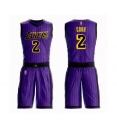 Men's Los Angeles Lakers #2 Quinn Cook Swingman Purple Basketball Suit Jersey - City Edition