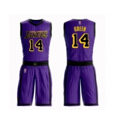 Men's Los Angeles Lakers #14 Danny Green Swingman Purple Basketball Suit Jersey - City Edition