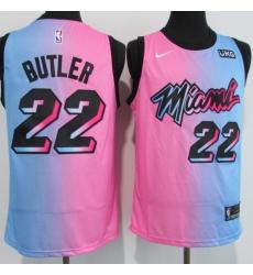 Men's Miami Heat #22 Jimmy Butler Pink-Blue Swingman Basketball Jersey