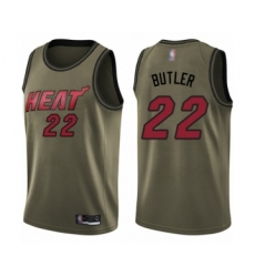 Men's Miami Heat #22 Jimmy Butler Swingman Green Salute to Service Basketball Jersey