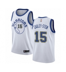 Men's Golden State Warriors #15 Willie Cauley-Stein Authentic White Hardwood Classics Basketball Jersey