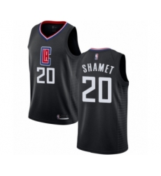 Men's Los Angeles Clippers #20 Landry Shamet Authentic Black Basketball Jersey Statement Edition