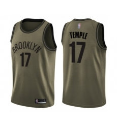 Men's Brooklyn Nets #17 Garrett Temple Swingman Green Salute to Service Basketball Jersey