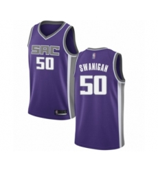 Men's Sacramento Kings #50 Caleb Swanigan Authentic Purple Basketball Jersey - Icon Edition