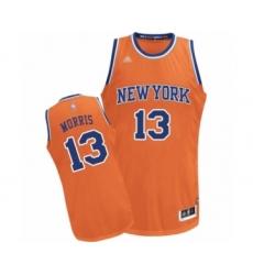Men's New York Knicks #13 Marcus Morris Authentic Orange Alternate Basketball Jersey