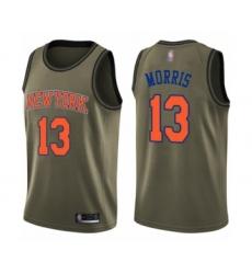 Men's New York Knicks #13 Marcus Morris Swingman Green Salute to Service Basketball Jersey