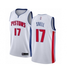Men's Detroit Pistons #17 Tony Snell Authentic White Basketball Jersey - Association Edition