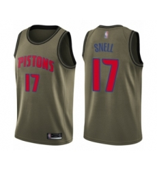 Men's Detroit Pistons #17 Tony Snell Swingman Green Salute to Service Basketball Jersey