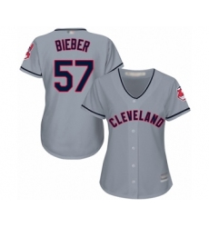 Women's Cleveland Indians #57 Shane Bieber Authentic Grey Road Cool Base Baseball Jersey