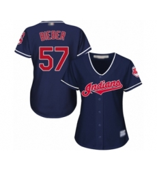 Women's Cleveland Indians #57 Shane Bieber Authentic Navy Blue Alternate 1 Cool Base Baseball Jersey