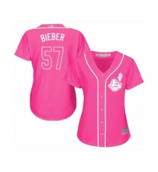 Women's Cleveland Indians #57 Shane Bieber Authentic Pink Fashion Cool Base Baseball Jersey