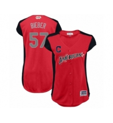 Women's Cleveland Indians #57 Shane Bieber Authentic Red American League 2019 Baseball All-Star Jersey