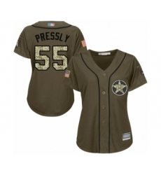 Women's Houston Astros #55 Ryan Pressly Authentic Green Salute to Service Baseball Jersey