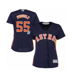 Women's Houston Astros #55 Ryan Pressly Authentic Navy Blue Alternate Cool Base Baseball Jersey