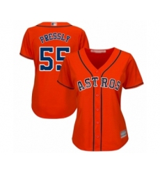 Women's Houston Astros #55 Ryan Pressly Authentic Orange Alternate Cool Base Baseball Jersey