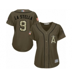 Women's Los Angeles Angels of Anaheim #9 Tommy La Stella Authentic Green Salute to Service Baseball Jersey