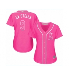 Women's Los Angeles Angels of Anaheim #9 Tommy La Stella Authentic Pink Fashion Baseball Jersey