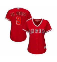 Women's Los Angeles Angels of Anaheim #9 Tommy La Stella Authentic Red Alternate Baseball Jersey